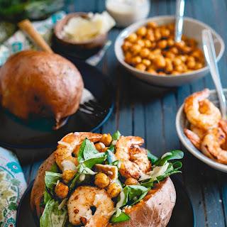 Shrimp Caesar Salad Stuffed Sweet Potatoes Recipe