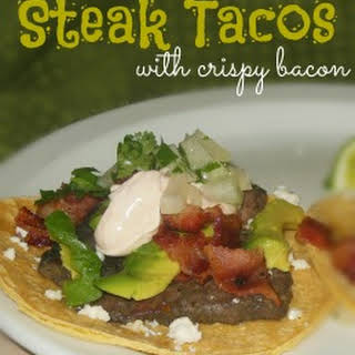 Steak Tacos with Crispy Bacon.