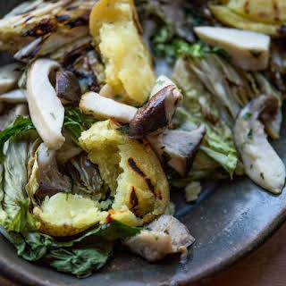 King Trumpet Mushroom Parcels with Greens and Grilled Rutabaga.
