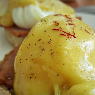 Saffron Eggs Benedict with Canadian Back Bacon
