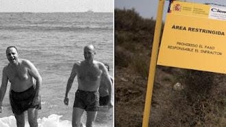Imagen del famoso baño de Manuel Fraga. A la derecha, advertencia en la zona.