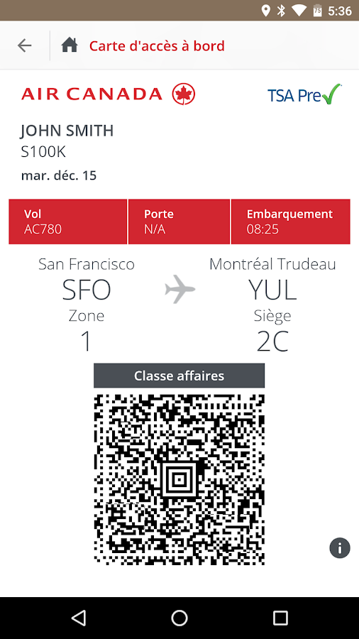 Air Canada – Capture d'écran
