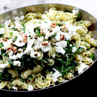 Pasta with Chard, Lemon, Goat Cheese, and Walnuts