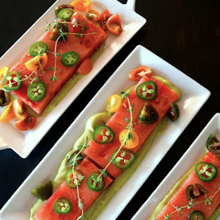 Compressed Watermelon Salad With Creamy Lemon-Lime Avocado