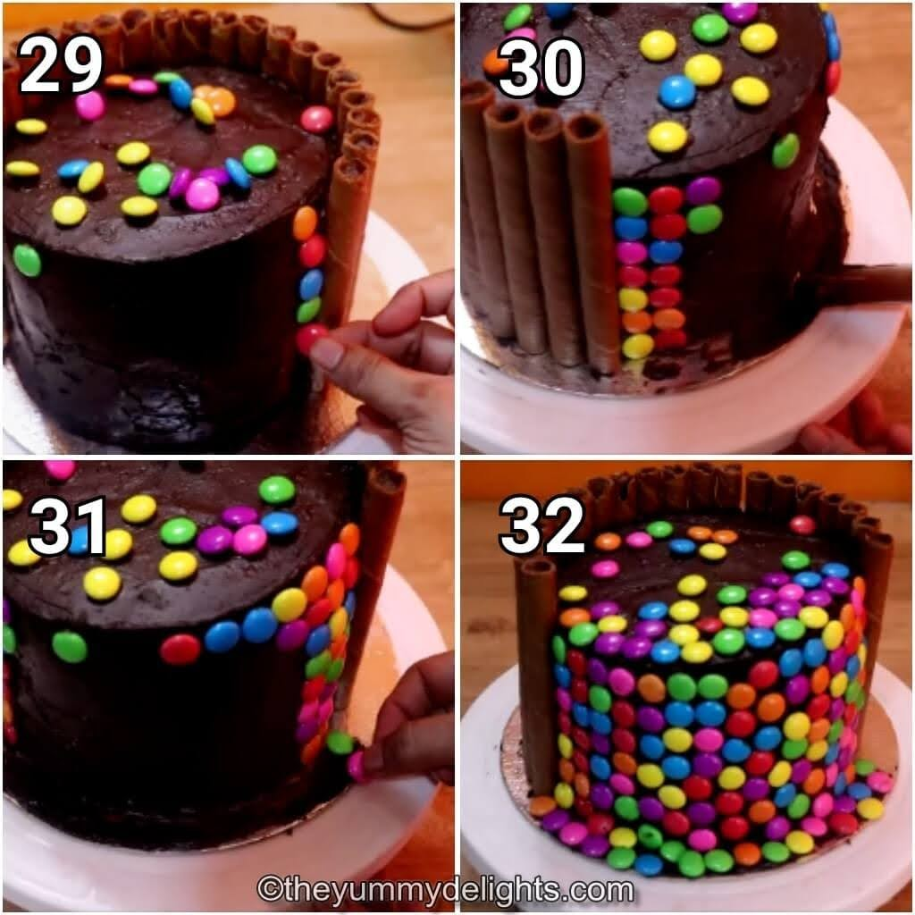 step by step image collage of sticking the gems over the cake.