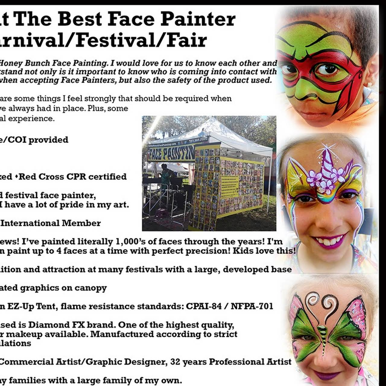 Honey Bunch Face Painting - Body and Face Artist in Madeira Beach