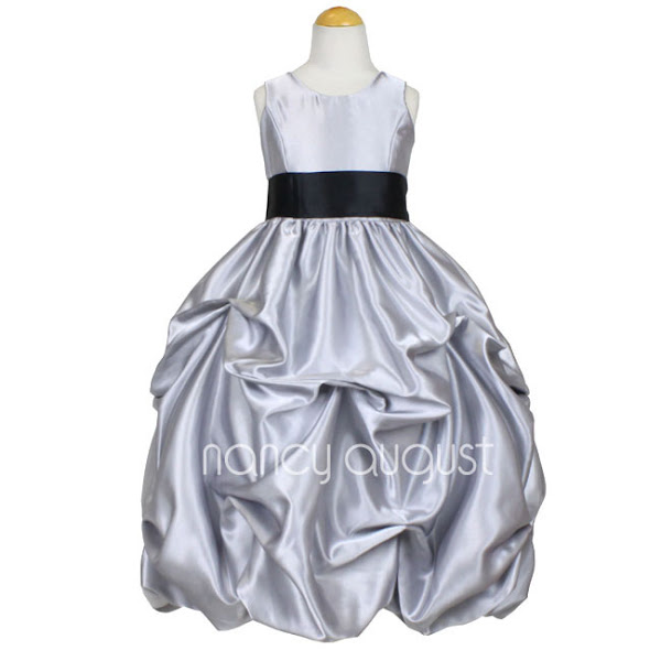 Photo: #Silver #Satin #Pick-up #Flower Girl #Dress: This beautiful silver flower girl dress is rich in style. This sensational shiny metalic silver satin flower girl dress is made of poly satin that is soft to the touch. Simple and elegant with its removable sash waistband and modern pick-up bubble skirt with crinoline enhancement. Best of all you can pick your own customized sash color to match all your bridesmaid dresses! This beautiful silver flower girl dress is pictured with the brown sash option.