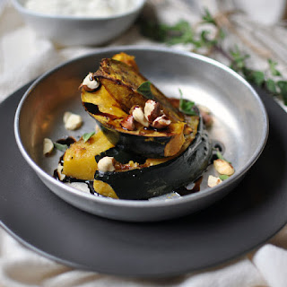 Roasted Acorn Squash with Hazelnuts and Balsamic Reduction