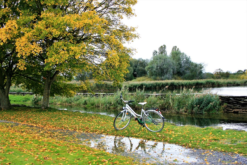 A bike parked by a stream on a rainy day