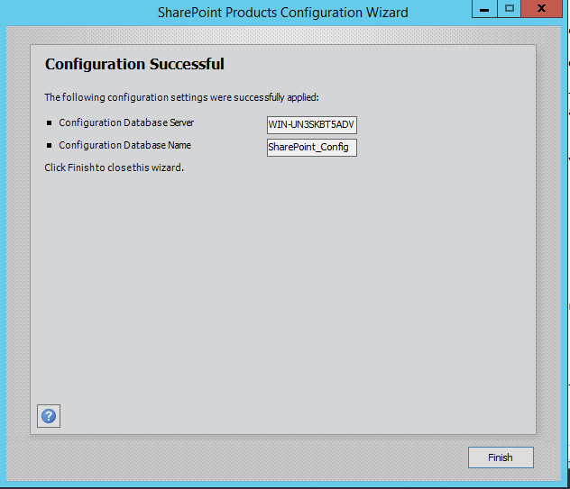 SharePoint 2016 Configuration Wizard