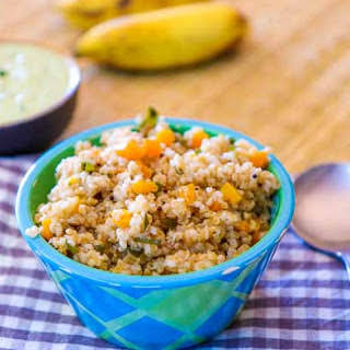 Broken Wheat Upma (A Savory Cracked Wheat Breakfast Pudding).