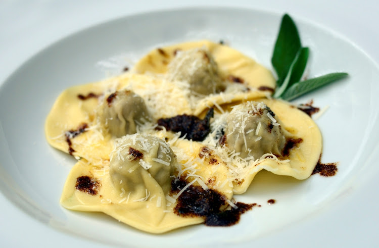 Carne's lamb ravioli with burro e salvia.