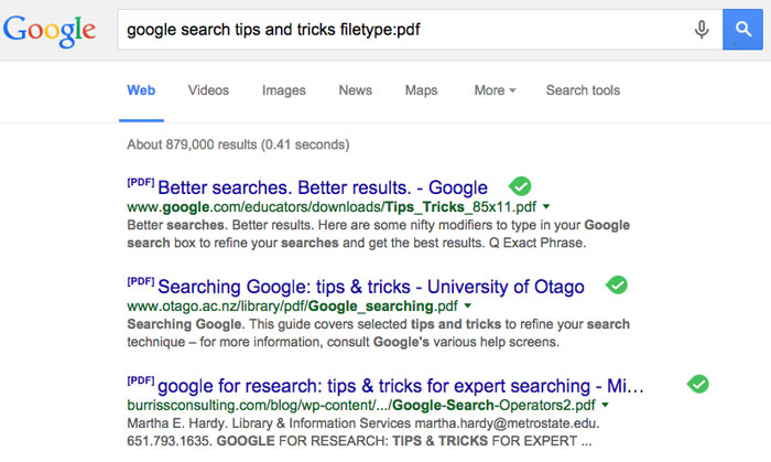 google tips and tricks - file type