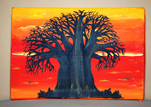Photo: Winning Shell Number: 670  1. A drawing on Canvas of a Baobab tree, the national symbol of Senegal, Lac Rose, March 2012