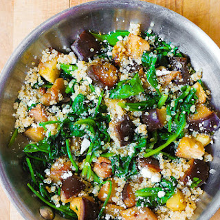 Roasted Eggplant with Spinach, Quinoa, and Feta.