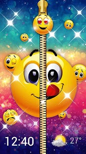 Funny Emoji Zipper Lock Screen - náhled