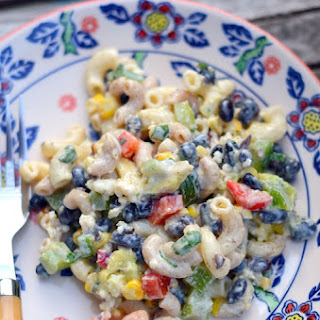 Corn and Black Bean Pasta Salad with Cilantro Lime Yogurt Dressing