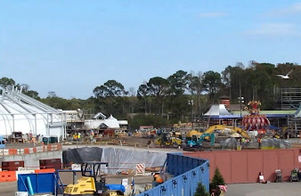 Photo: From left to right: The old tent has been expanded with re-enforced exterior. Looks like there will be a double thickness tent. So it's going to appear even bigger on the outside. Behind the tent is the new Fantasyland Train Station. In front of the tent is the pt for the roller coaster. To the right is the new Dumbo spinner.