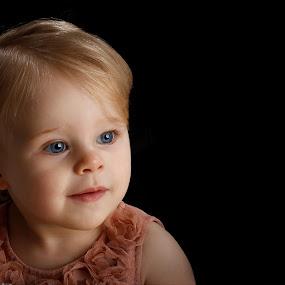 by Graham Sivills FBCS - Babies & Children Child Portraits ( black background, child, blue eyes, peach, portrait,  )