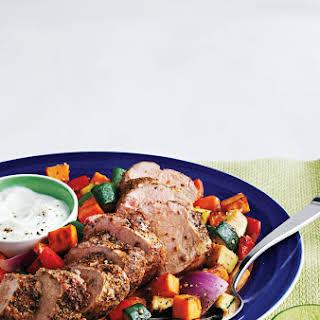 Souvlaki-Style Pork Tenderloin With Mixed Vegetables.