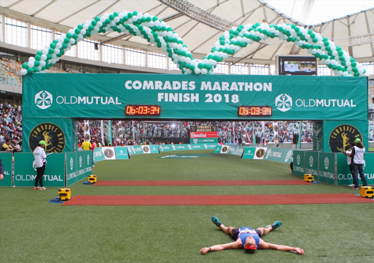 General views at the finish line during the 2018 Comrades Marathon on June 10, 2018 in Durban, South Africa.