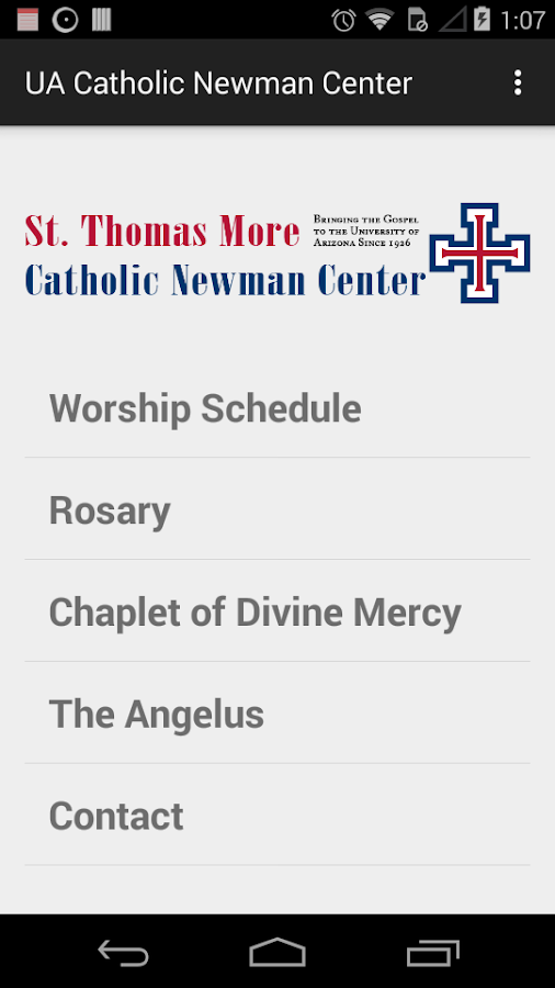UA Catholic Newman Center- screenshot