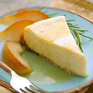 Goat cheese cheesecake W/ rosemary and pears!
