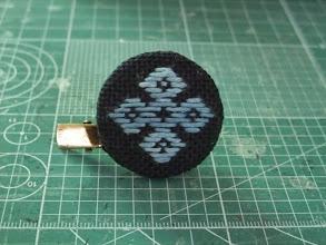 Photo: 藍染めの糸でストールピン。