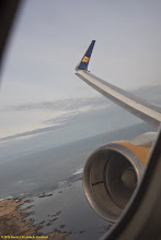 Photo: Starting the turn over Iceland to fly along the line of totality for the total solar eclipse of 20 March 2015 aboard Icelandair757 aircraft (our airplane was named Snæfellsjökull).