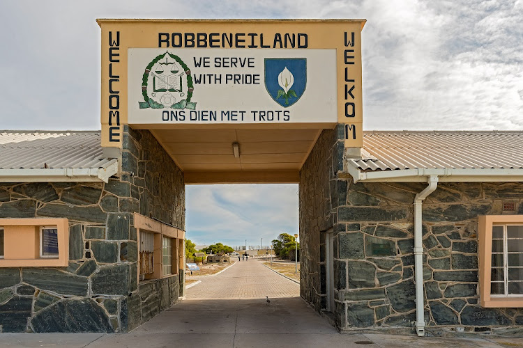 Robben Island Prison where Nelson Mandela was imprisoned, now a museum, Cape Town, South Africa as viewed at the entry gate.