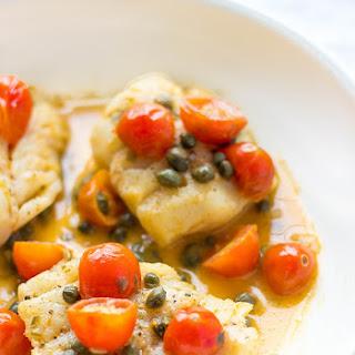 Seared Cod With Tomato-Caper Sauce.