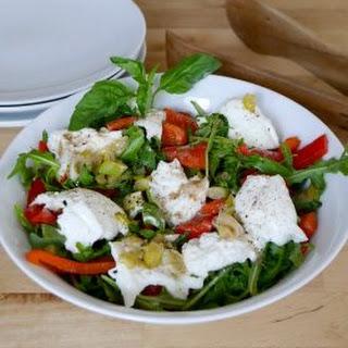 Roasted Red Pepper and Buffalo Mozzarella Salad.