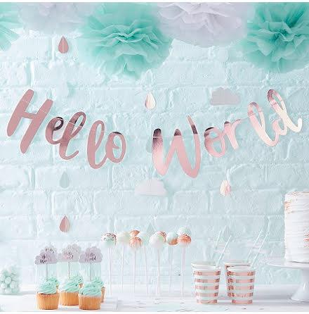 Hello World backdrop i roséguld