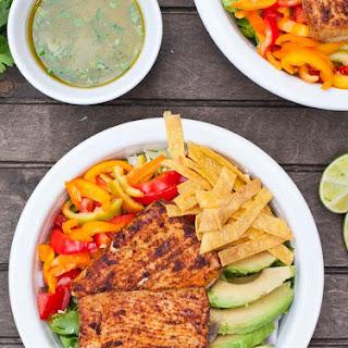 Fish Taco Salads with Sriracha Lime Dressing