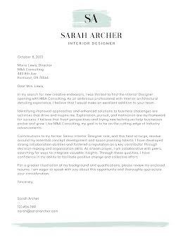 Sarah Archer - Cover Letter item