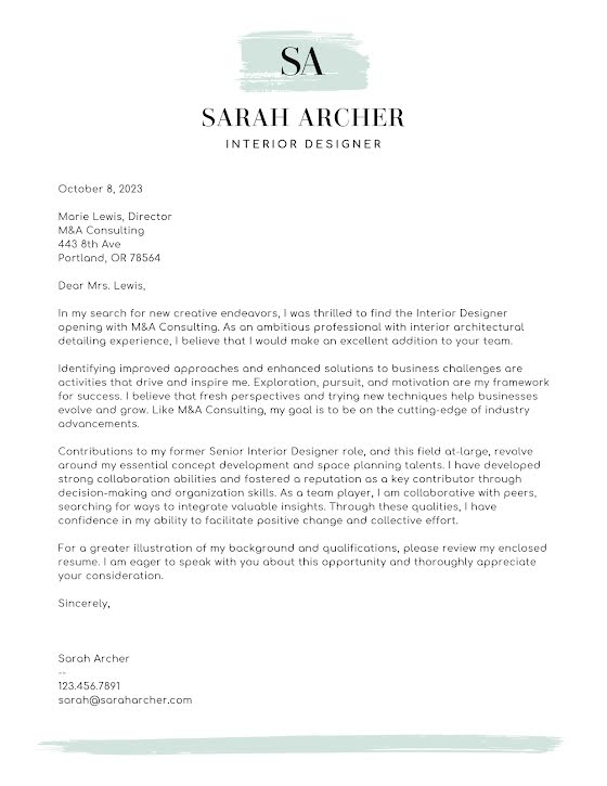 Sarah Archer - Cover Letter Template
