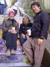 Photo: Donors sitting near a commemorative tile for a departed friend during the opening celebration (Saturday, December 7, 2013) for the Hidden Garden Steps (16th Avenue, between Kirkham and Lawton streets in San Francisco's Inner Sunset District)  For more information about the Steps, please visit our website (http://hiddengardensteps.org), view links about the project from our Scoopit! site (http://www.scoop.it/t/hidden-garden-steps), or follow our social media presence on Twitter (https://twitter.com/GardenSteps), Facebook (https://www.facebook.com/pages/Hidden-Garden-Steps/288064457924739) and many others.