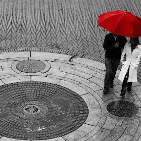 Red Umbrella by Gina Gomez - City,  Street & Park  Street Scenes ( urban, red, umbrella, street, nyc, new york city )
