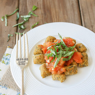 Crispy Sweet Potato & Spinach Gnocchi with Fresh Garlic Tomato Sauce