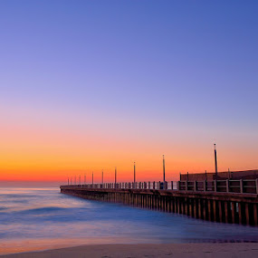Pink Dawn by Dave Ross - Landscapes Waterscapes ( dawn, pier, sea, ocean, pink, beach, sunrise )