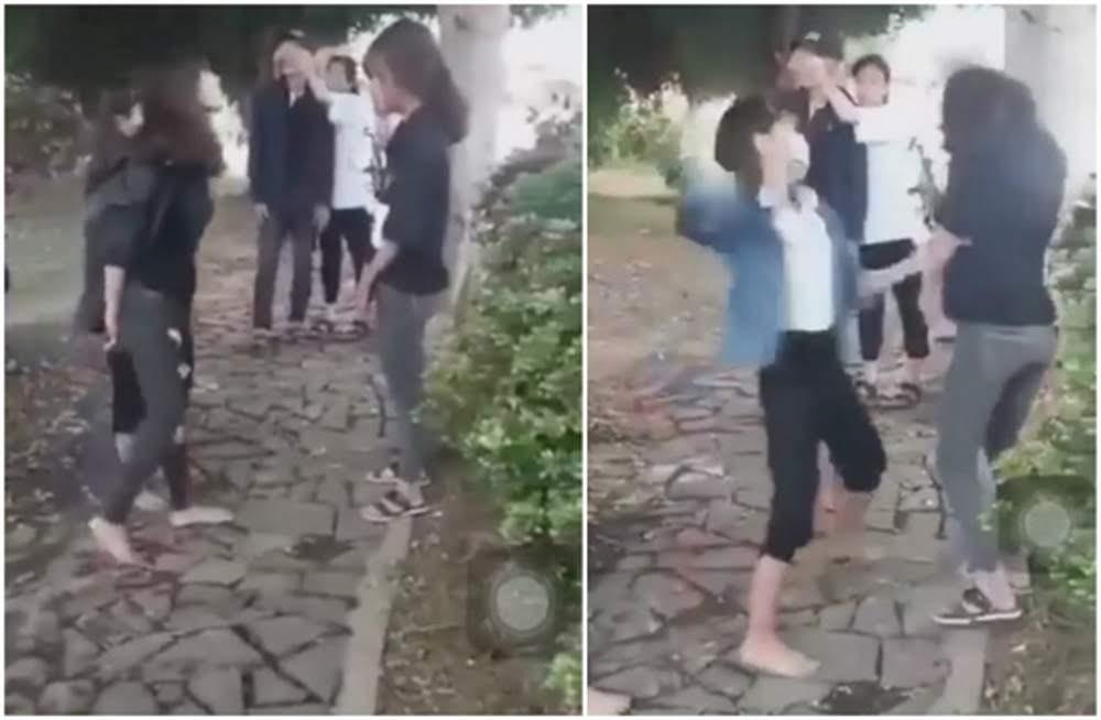 Hình ảnh nhóm nữ sinh bị hành hung quay clip đưa lên mạng xã hội