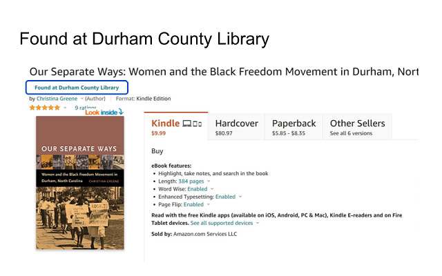 Durham County Library Amazon Browser