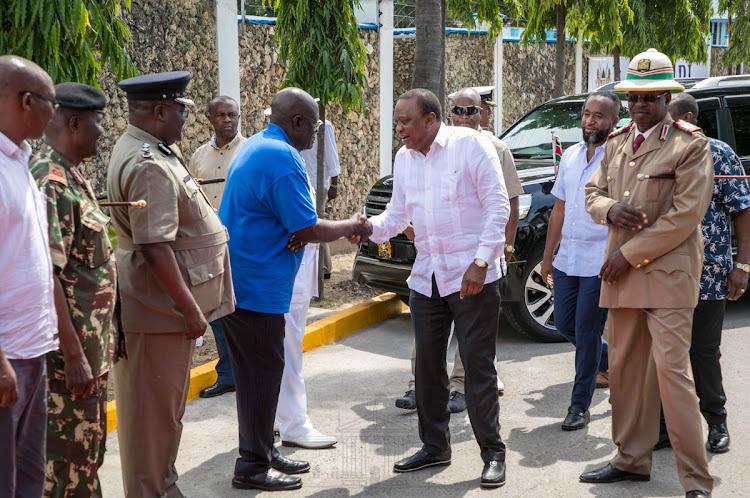 President Uhuru Kenyatta when he arrived at Kilindini, Mombasa County to preside over the commissioning of Bandari Maritime Academy.