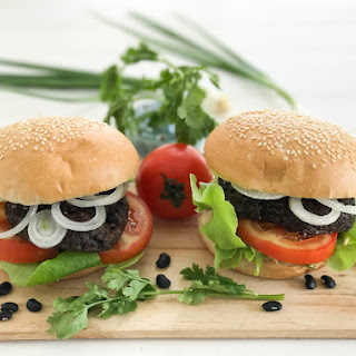 Black Bean Burger with Wild Mushrooms, Black Rice and Fresh Coriander.