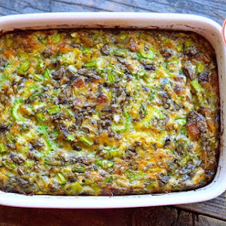 Low Carb Bacon Asparagus Breakfast Casserole.