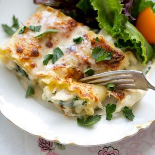 Creamy Chicken Alfredo Lasagna Roll-Ups.