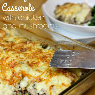 Creamy Quinoa Casserole with Chicken and Mushrooms