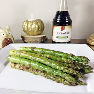Pan Seared Asparagus With Soy Sauce and Garlic.