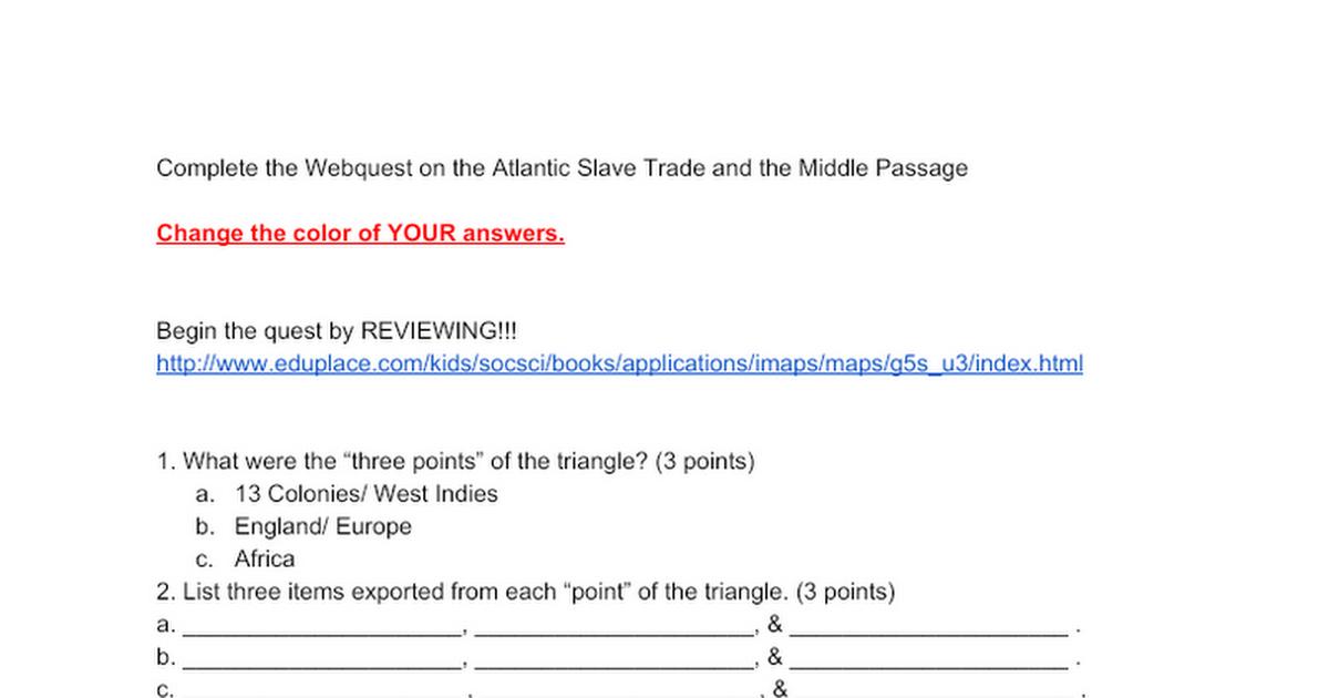 Slavery Webquest Google Docs