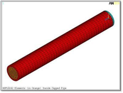 ANSYS | трёхмерные гидростатические элементы жидкости HSFLD242 в твердотельной модели (подсвечены оранжевым)
